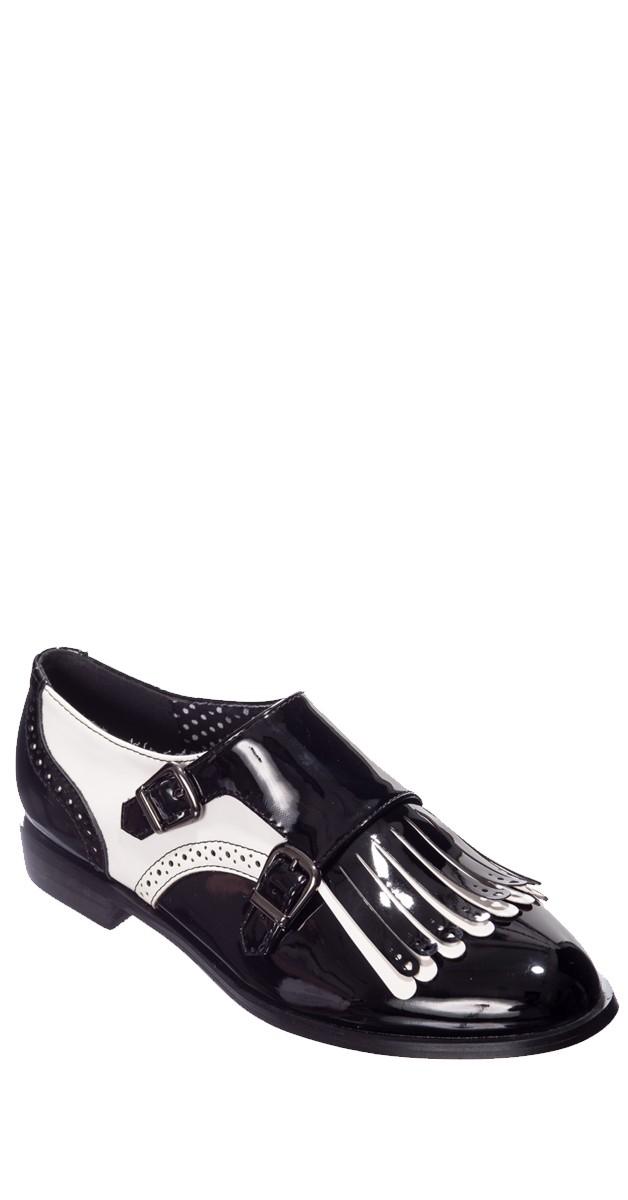 Vintage Stil Schuhe - Schwarz/Weiß