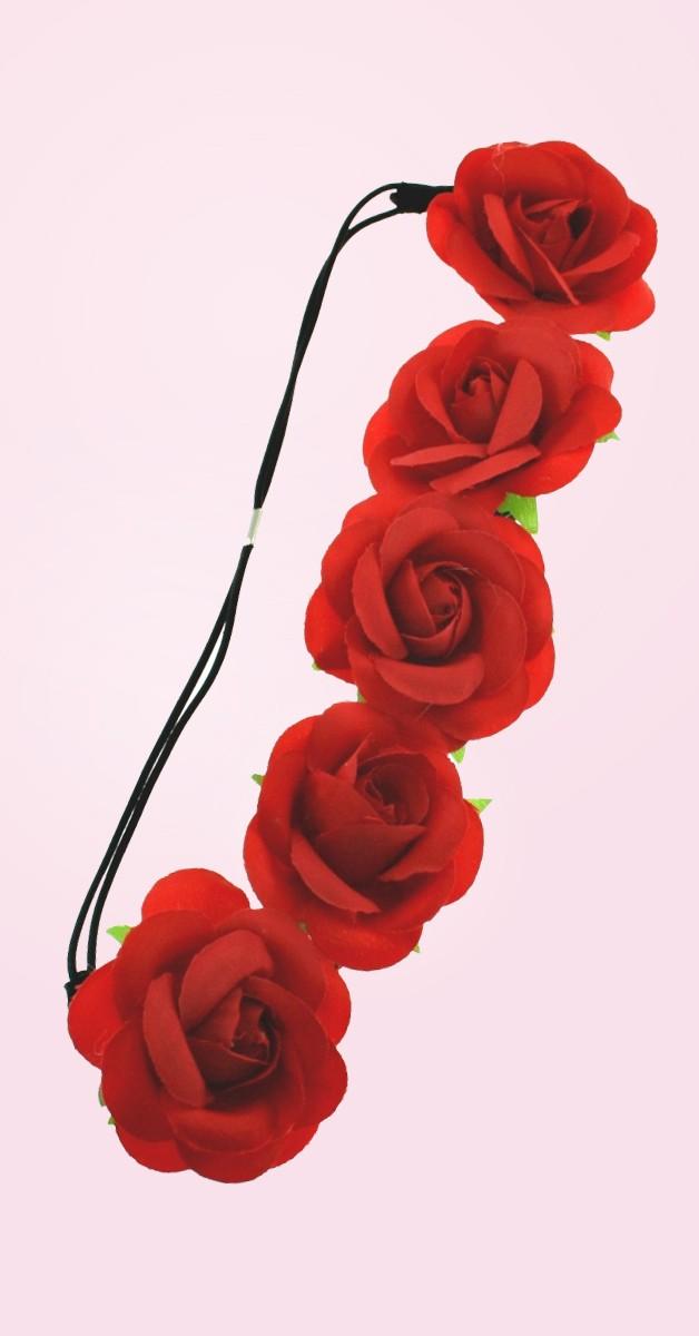 Vintage Accessoires - Blumen Haarband Rosen - Rot