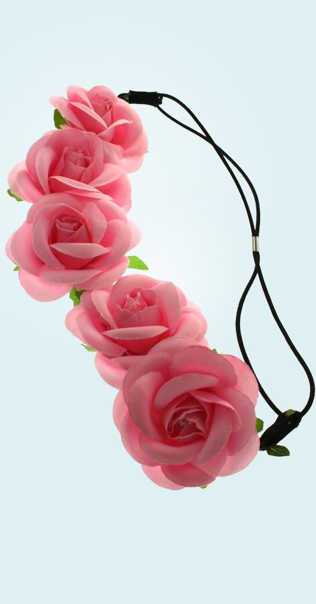 Vintage Accessoires - Blumen Haarband Rosen - Pink