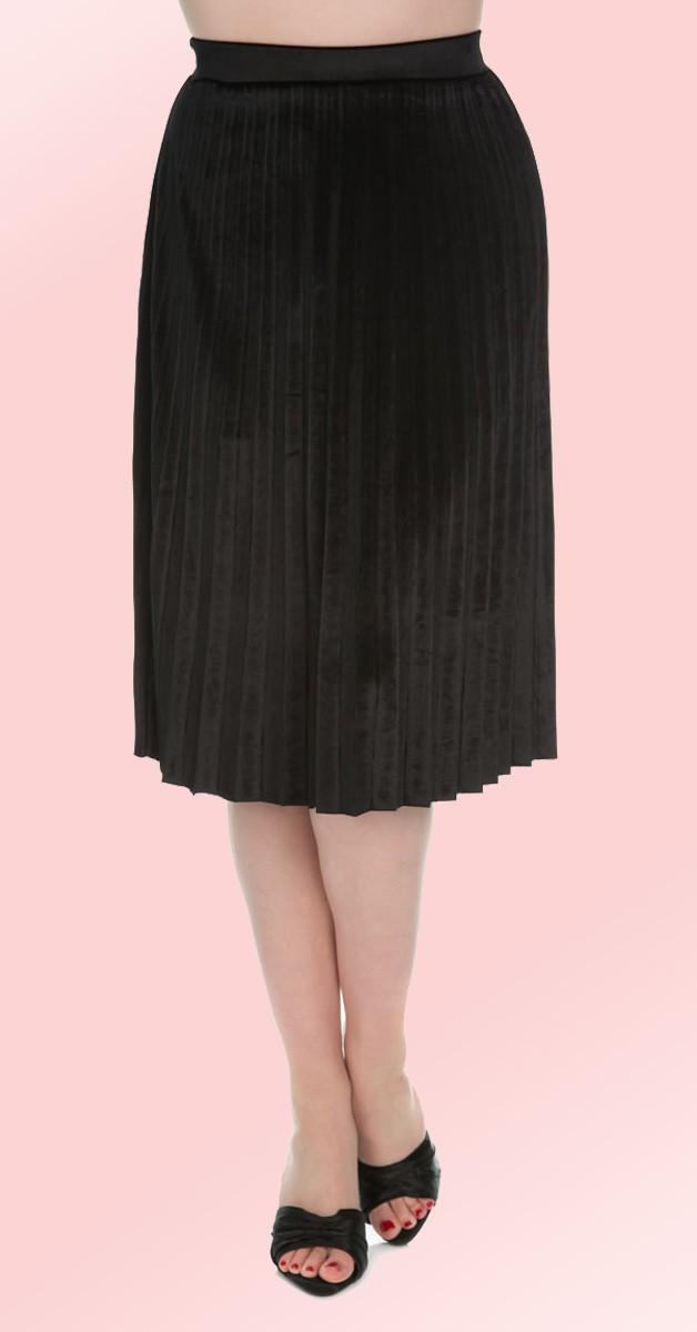 Vintage Mode - Rock - Pleated Velvet Skirt - Schwarz