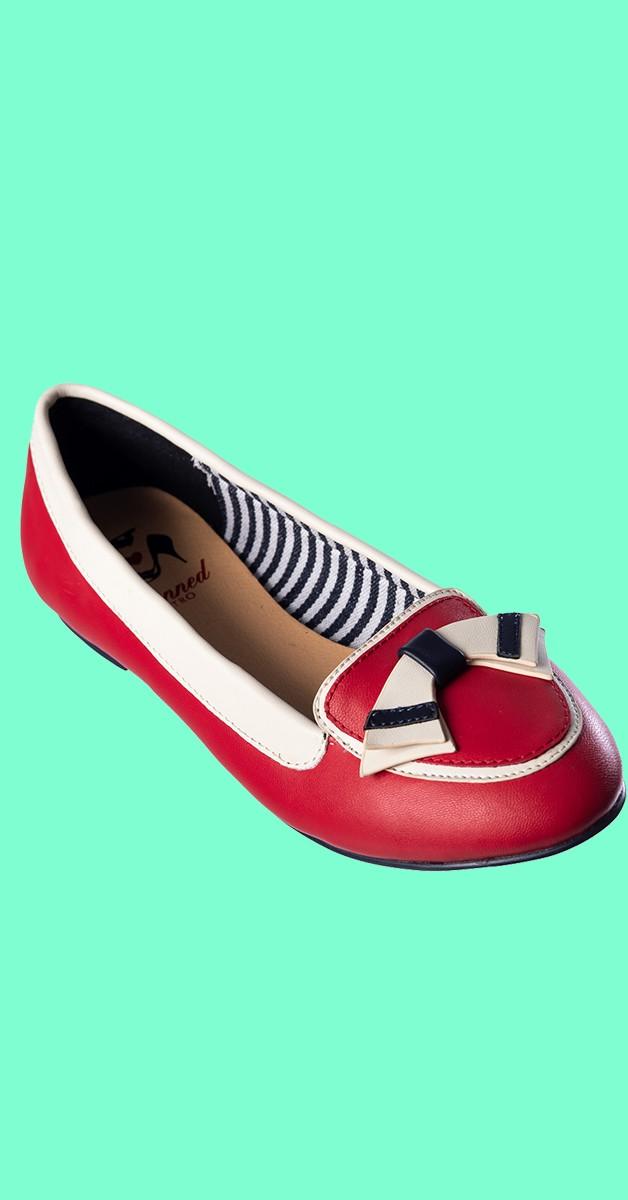 Retro Schuhe - St Tropez - Rot
