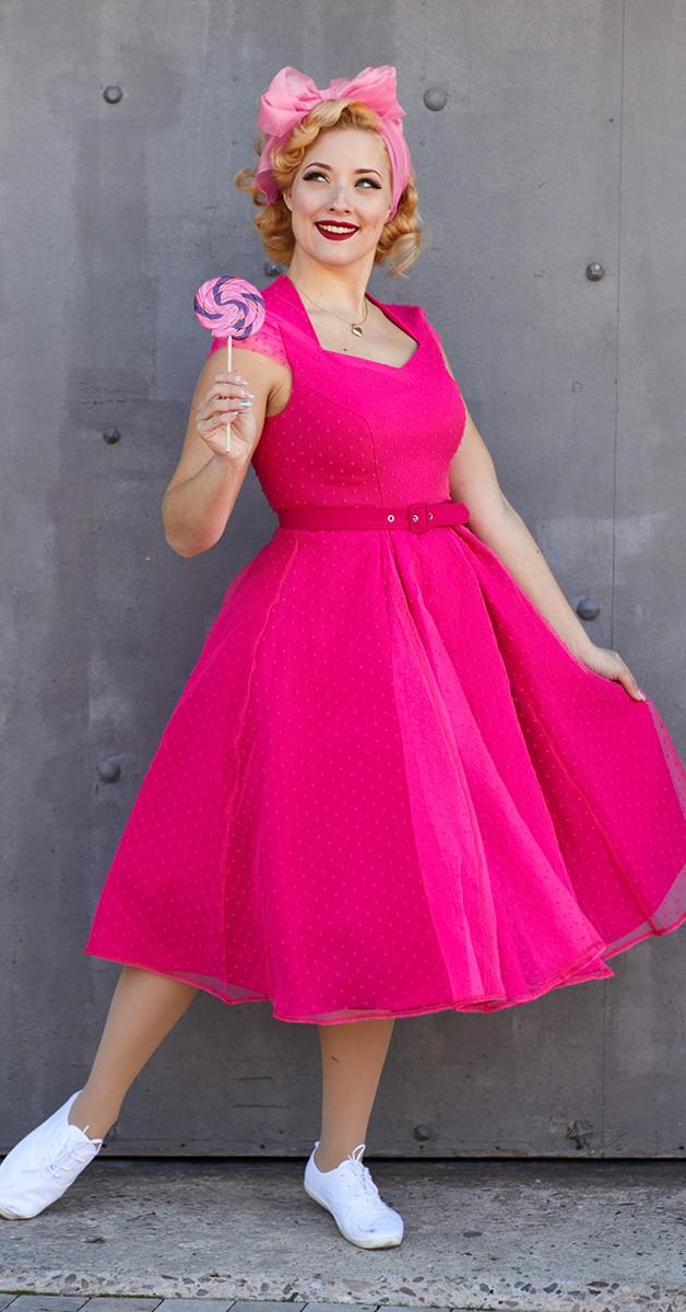 Vintage Stil Kleid - Celia Magenta Polka Dot Dress - Magenta