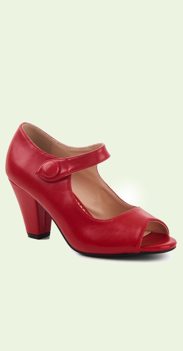 Vintage Stil Schuhe - Sharon High Heel - Rot