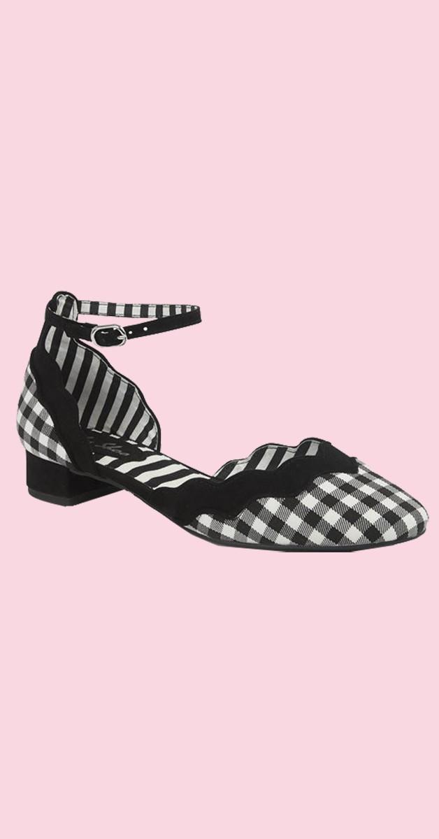 Retro Vintage Stil Schuhe -  Karo Sandalette - Lydia - Schwarz