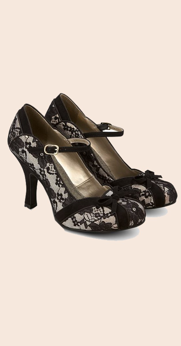 Vintage  Schuhe – Vintage Spitzen Schuhe Pumps - Cleo - Schwarz