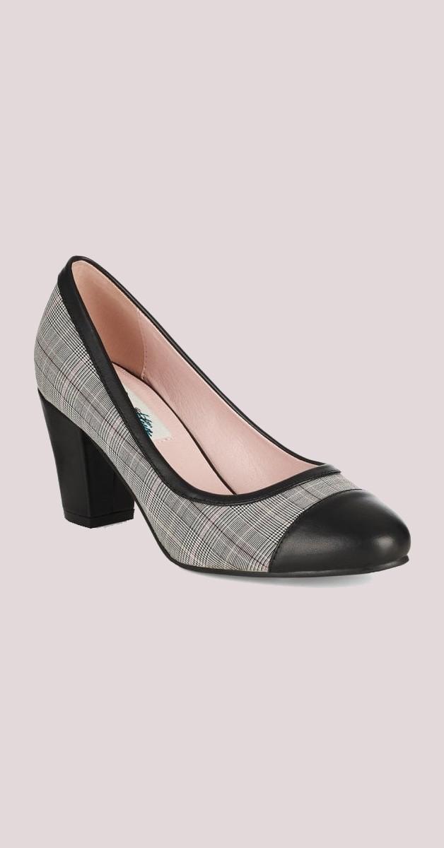 Vintage Stil Schuhe - Lena High Heel - Grau/Schwarz
