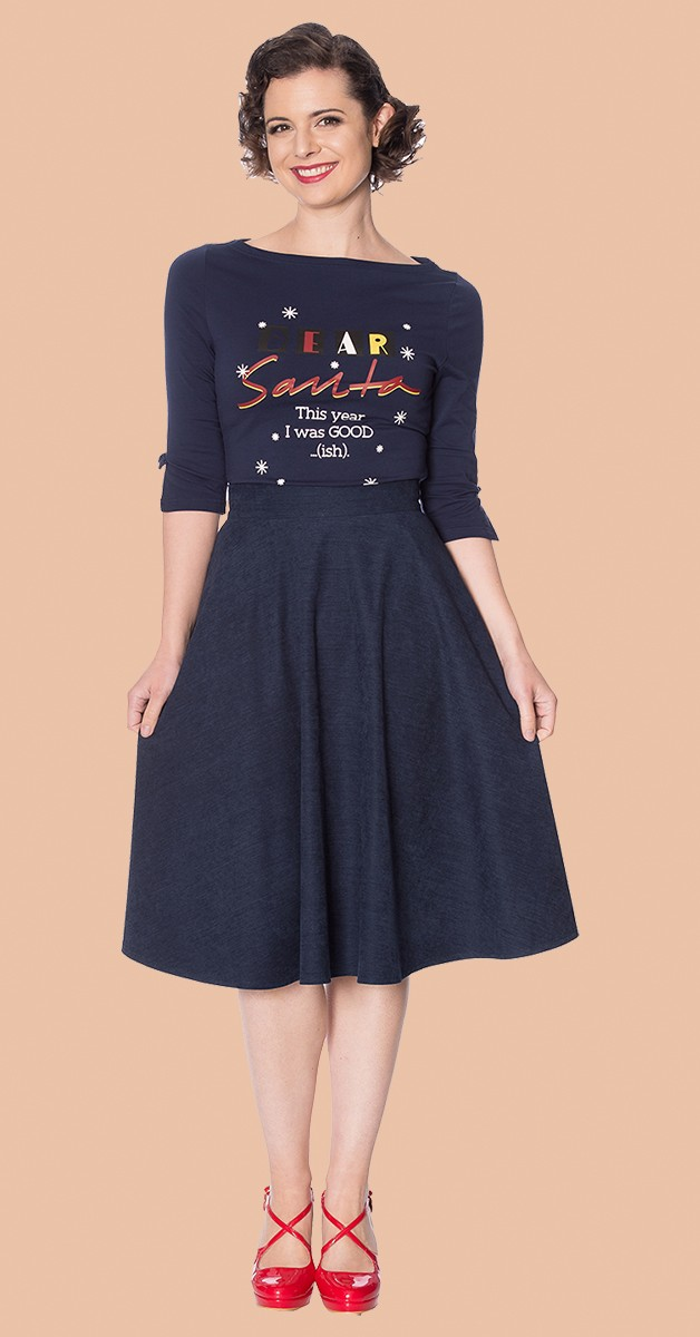 Vintage Stil Rock - Sophicated Lady Swing Skirt - Navy