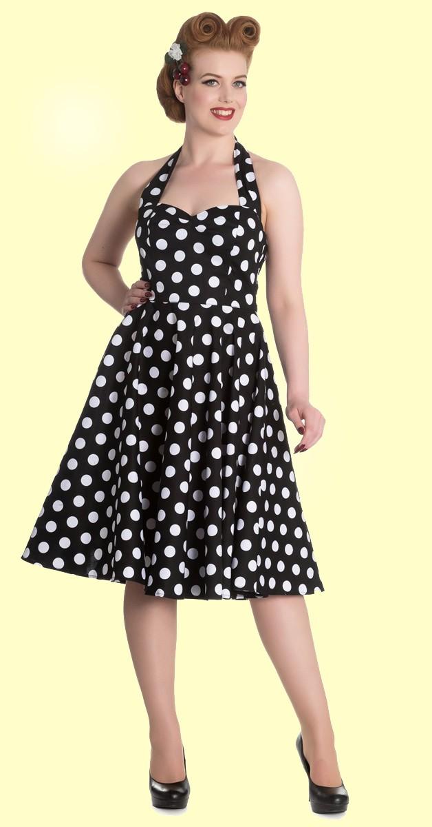 Vintage Stil Kleid - Mariam - Schwarz Mit Punkten