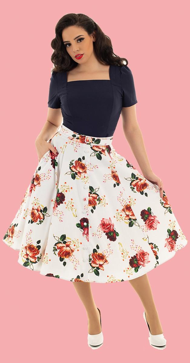 Vintage Mode - Swing Rock - White Floral Swing Skirt - Weiß/Floral