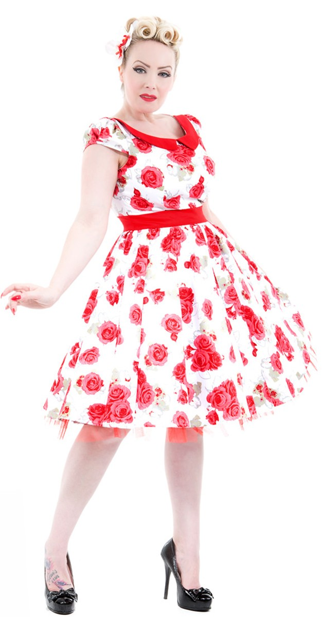 Vintage Stil Swing Kleid - Bianca Roses Day Dress - Weiß