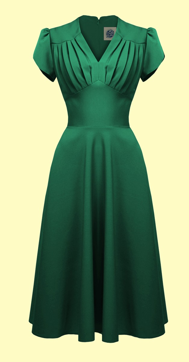 Vintage Mode - Retro Swing Kleid - Grün