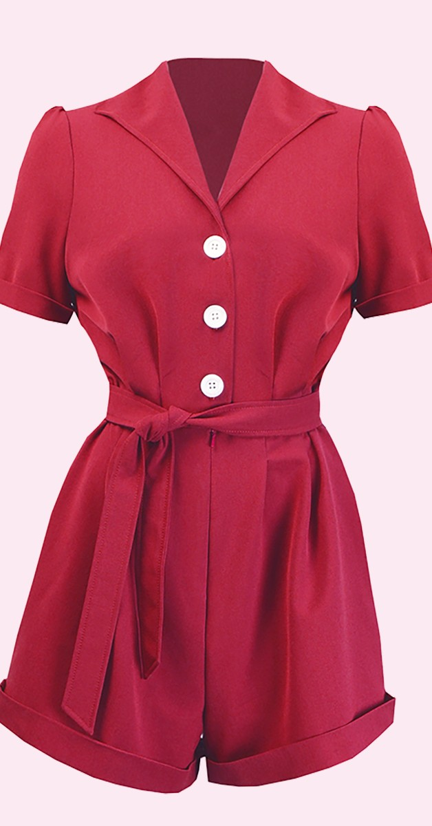 Vintage Kleidung -Pretty Playsuit - Rot