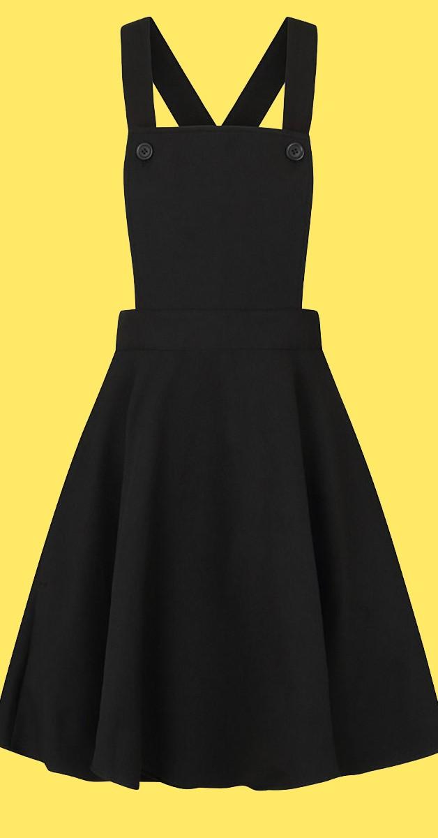 Vintage Stil Kleid -50s Amelie Pinafore Dress - Schwarz