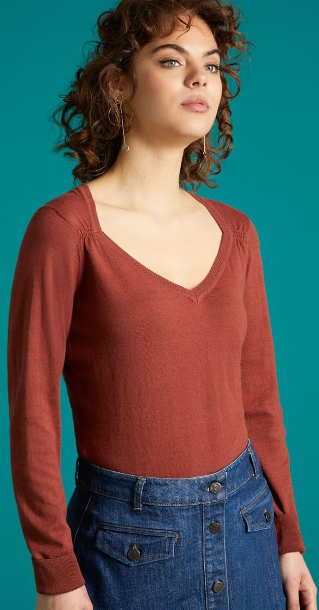 Vintage  Bekleidung - Diamond Knit Top Organic Cottonclub - Henna Rot