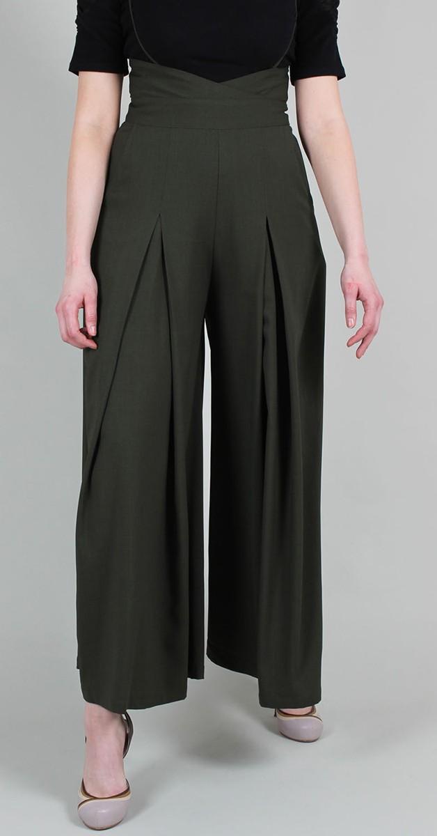 Vintage Mode - Hose mit träger - 40s  High Waisted  - Kourt Olive
