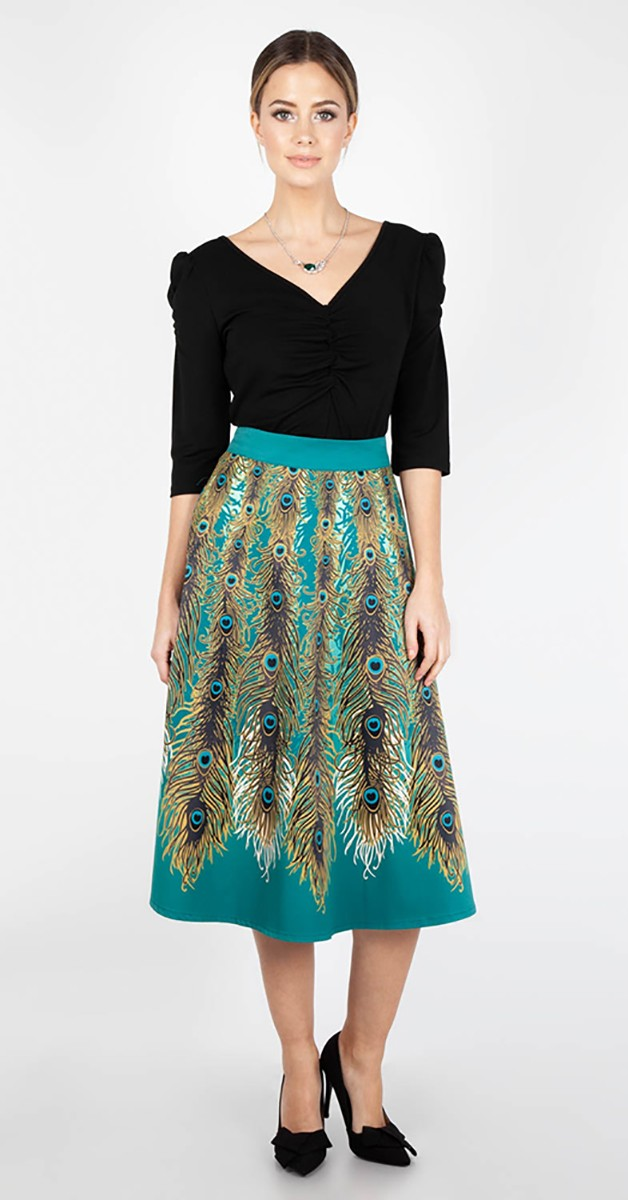 Vintage Stil Rock - Nicole Peacok Feather  Skirt