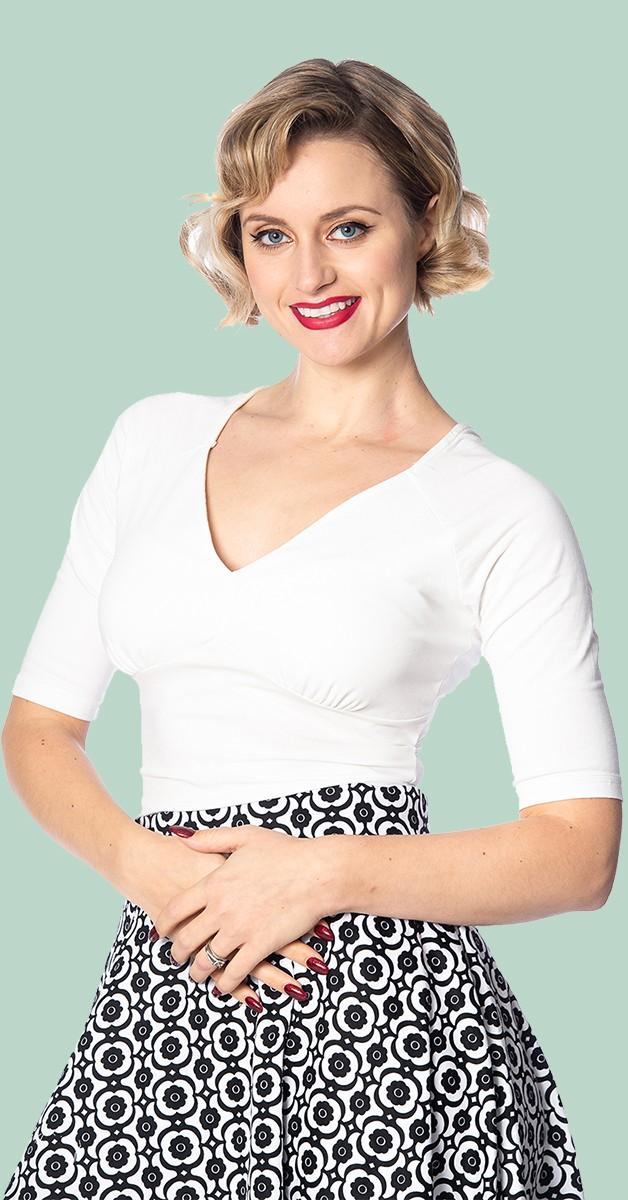 Vintage Stil Bekleidung - Betty Top - Weiß