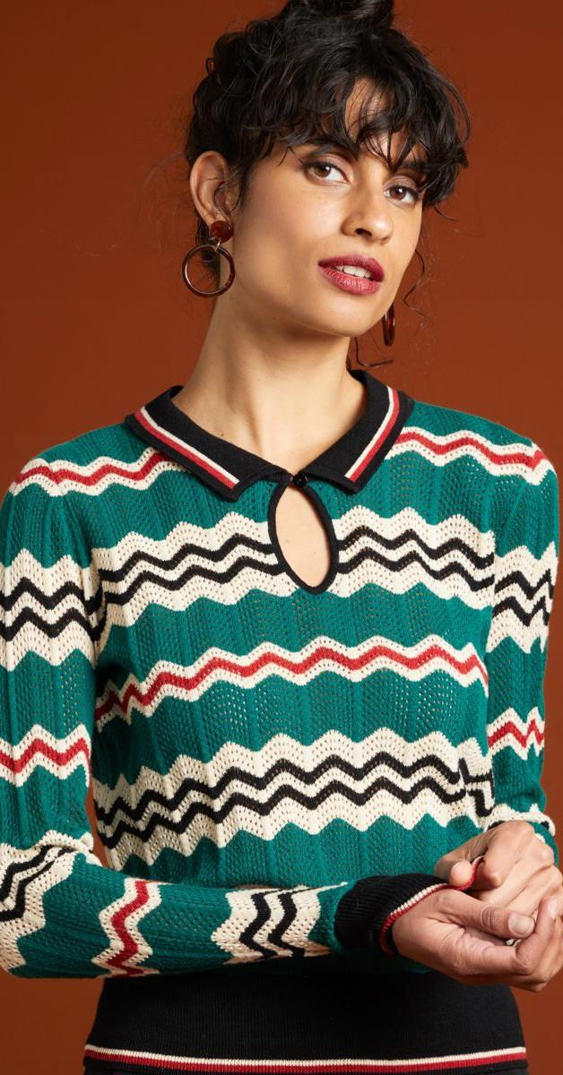 Retro Stil Bekleidung - Collar knit Top - Sizzl