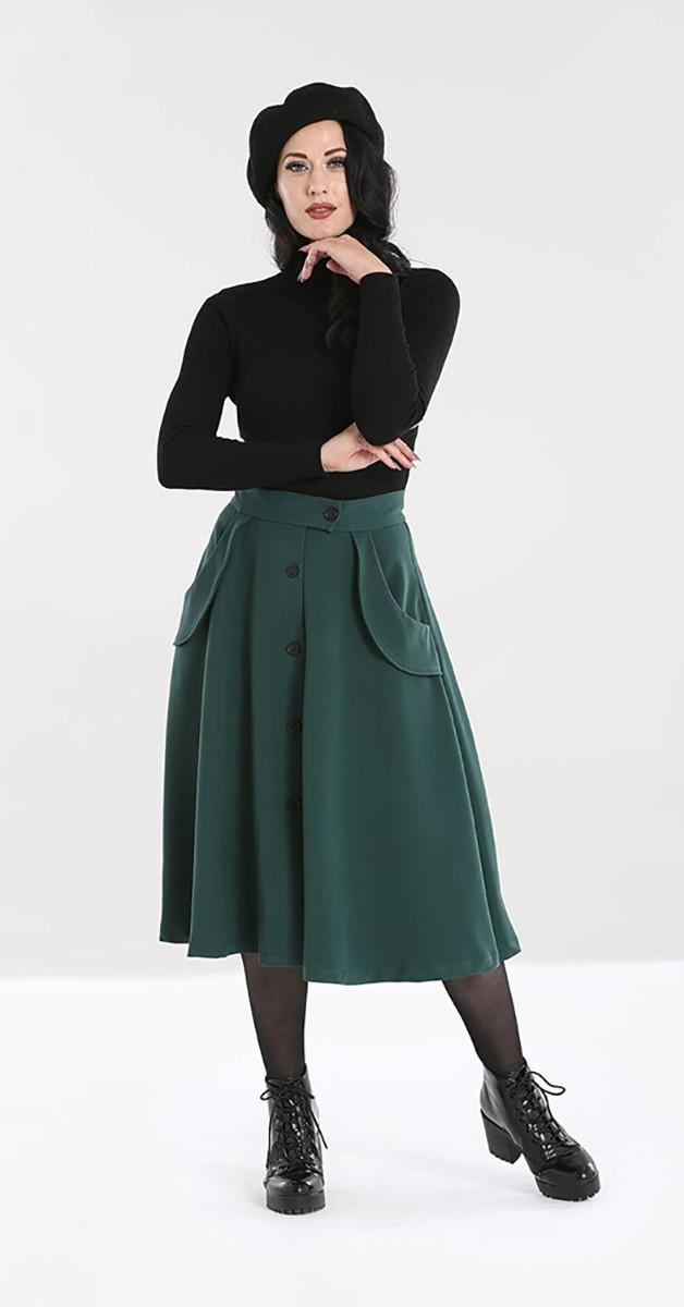 Vintage Mode -Tellerrock - Carlie Skirt - Waldgrün
