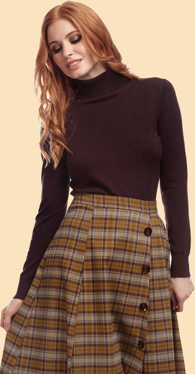 Vintage Stil Bekleidung - Rollkragenpullover - Braun
