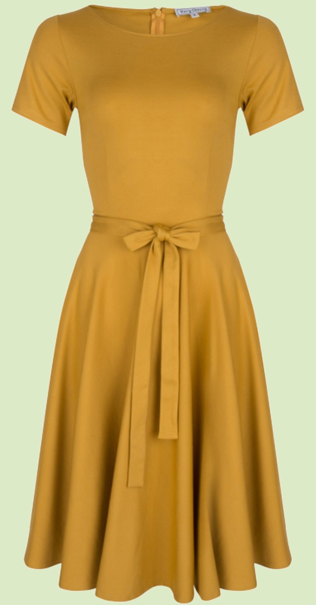 Vintage  Mode - Kleid -  Ballerina Dress Mustard Punty