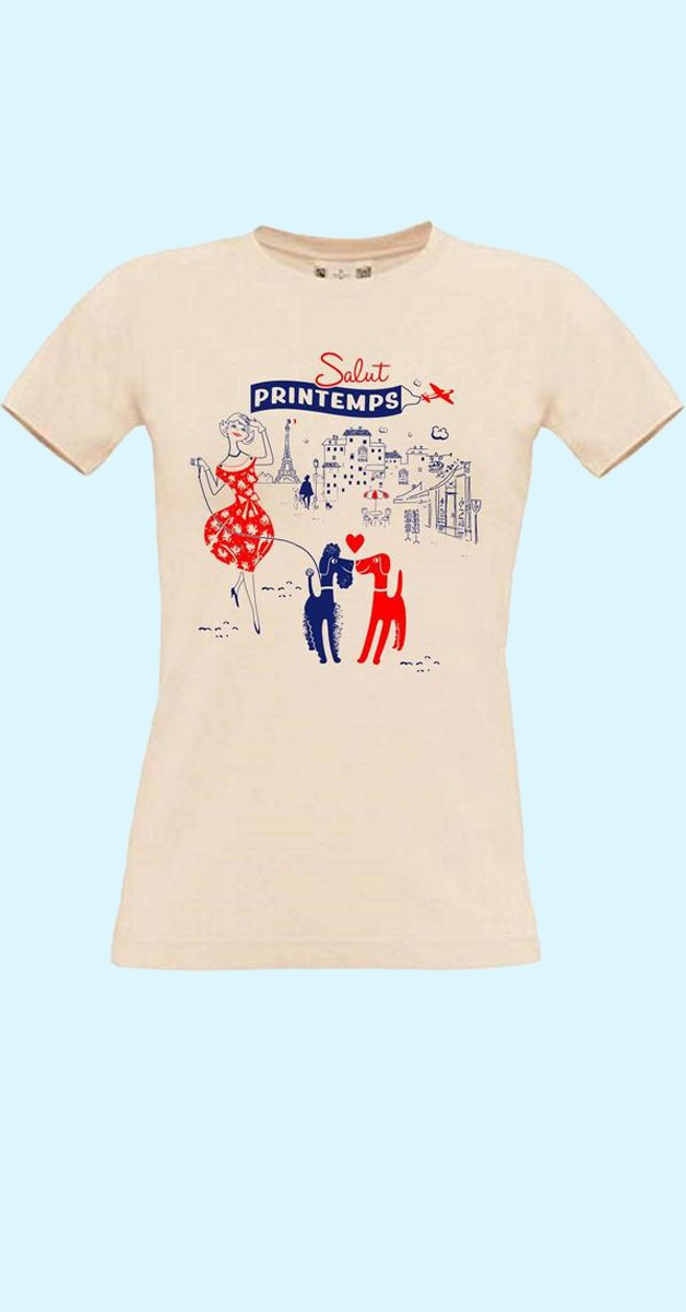 Vintage-Stil Frau T-shirt - Paris Motiv - Salut printemps