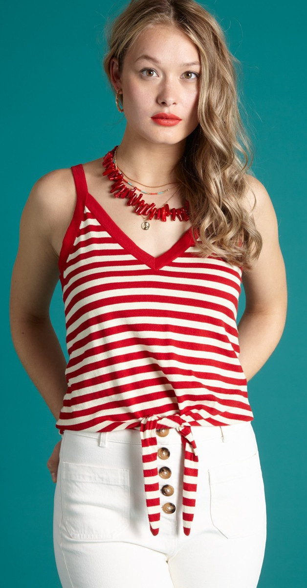 Retro & 50s Stil Kleidung - Top Isa Knot Camisole Classic Stripe