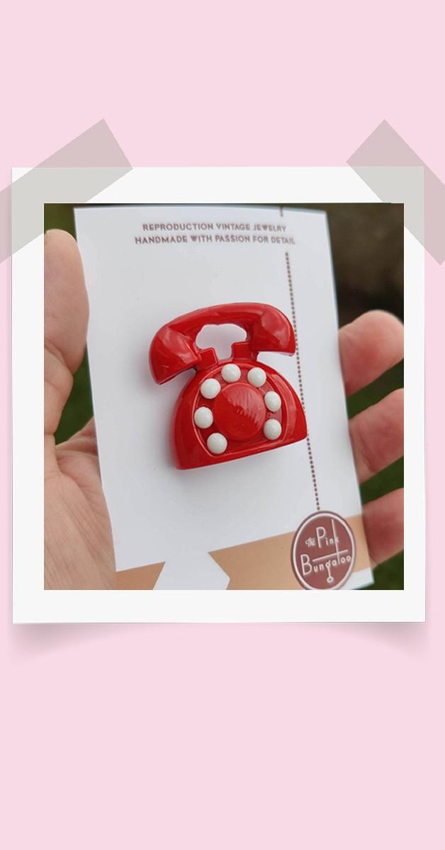 Vintage Stil  Schmuck - Brosche - Telefon - Rot